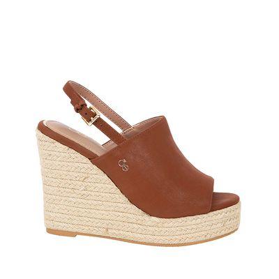 Sandalia con Plataforma Wedge Peep Toe color Tan