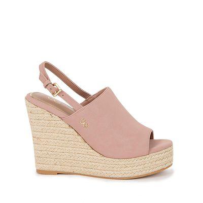 Sandalia con Plataforma Wedge Peep Toe color Rosa