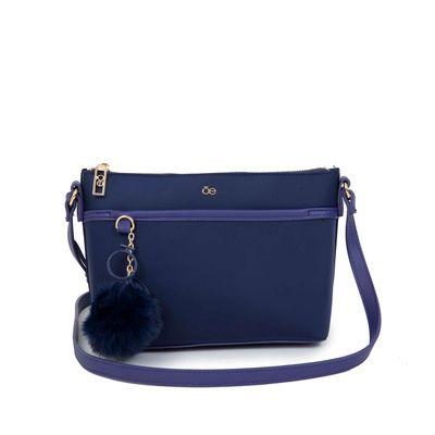 Bolsa Crossbody Nylon Con Pompón Removible Color Azul Marino