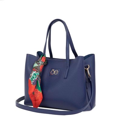 Bolsa Tote Con Mascada Estampada Removible Color Azul Marino