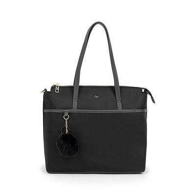Bolsa Tote Nylon Con Pompón Removible Color Negro