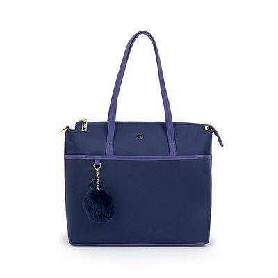 Bolsa Tote Nylon Con Pompón Removible Color Azul Marino