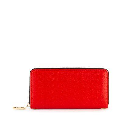 Cartera Grande Cierre Sencillo Troquelada color Rojo
