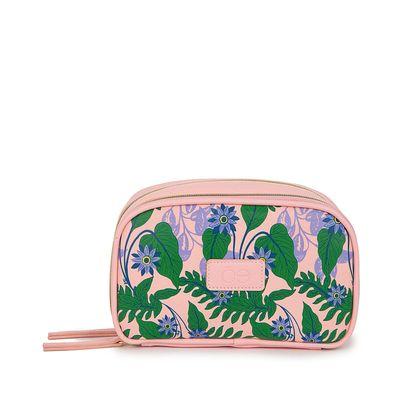 Cosmetiquera Grande Estampado Tropical color Rosa