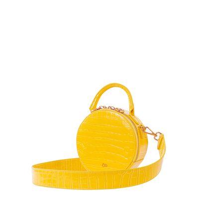 Bolsa Crossbody Circular Animal Skin color Amarillo