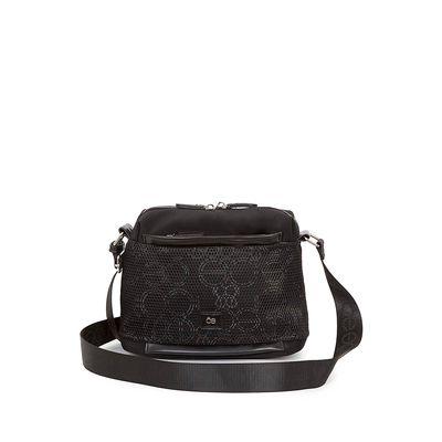 Bolsa Crossbody Nylon con Malla Frontal color Negro