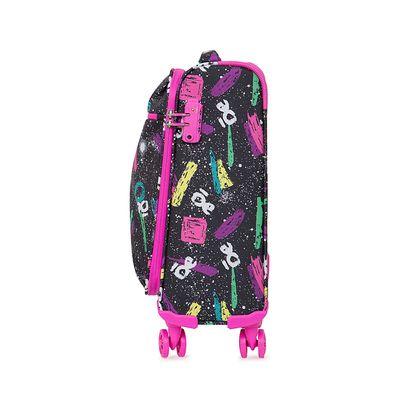 """Maleta Chica (20"""") de cabina Textil con Estampado Grafiti color Negro"""