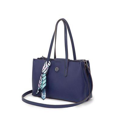 Bolsa Satchel con Mascada Estampado Geométrico color Azul Marino