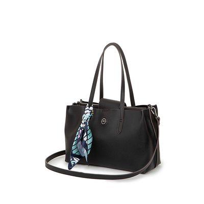 Bolsa Satchel con Mascada Estampado Geométrico color Negro