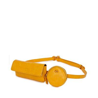 Cangurera Look Croco Multiusos color Amarillo Ocre