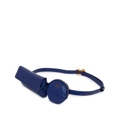 Cangurera Look Croco Multiusos color Azul Eléctrico