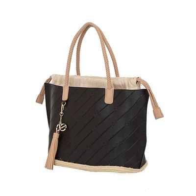 Bolsa Tote 2-en-1 Troquelado Monograma Oe color Negro