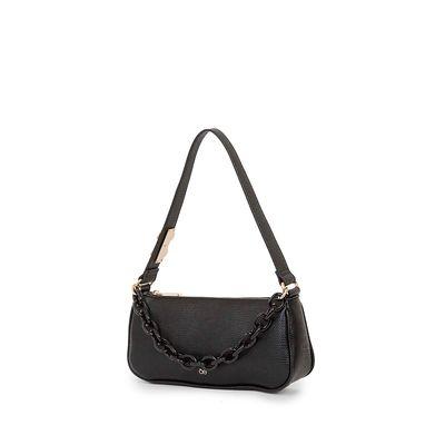 Bolsa Baguette Material Reciclado y Cadena acrílica color Negro