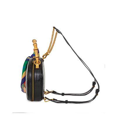 Bolsa 2-en-1 Circular Look Croco color Negro