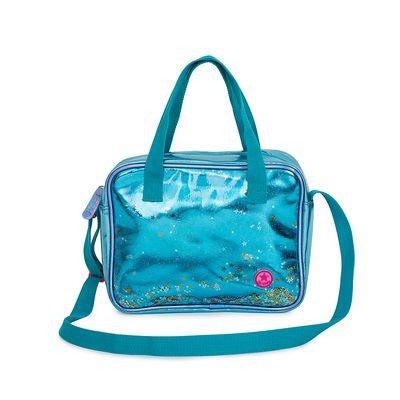 Bolsa Satchel Metálica con Glitter color Azul