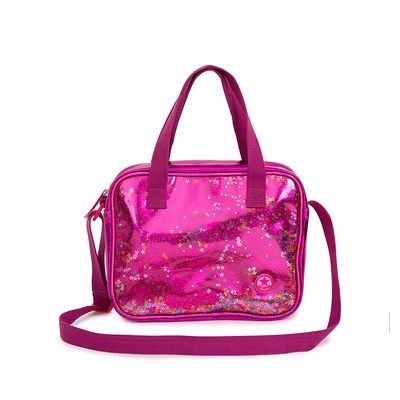 Bolsa Satchel Metálica con Glitter color Rosa