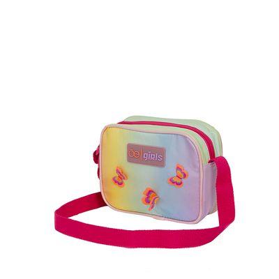 Bolsa Crossbody en Material Arcoíris Diseño Mariposas color Rosa