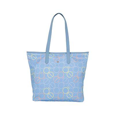 Bolsa Tote Nylon con Estampado Monograma color Azul