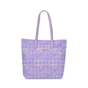 Bolsa Tote Nylon con Estampado Monograma color Lila