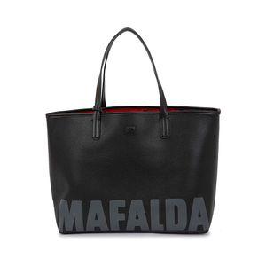 Bolsa Tote Reversible Mafalda x Oe Estampado Icónico color Negro