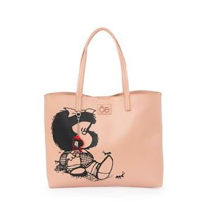 Bolsa Tote 2-en-1 Mafalda x Oe Estampado Icónico color Nude