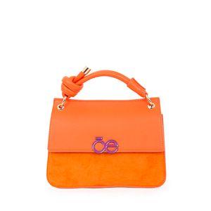 Bolsa Briefcase Contraste de Materiales color Naranja